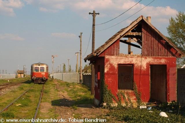 20.04.2011: Malaxa 952 im rumänischen Grenzbahnhof Jimbolia zu Serbien. Während der ganzen Fahrt war uns Petrus zum Glück wohlgesonnen.