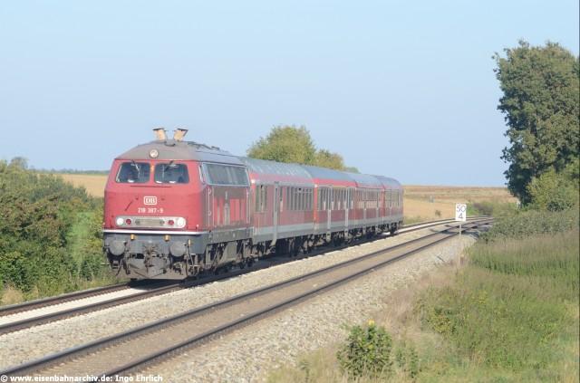 218 378 mit RE München - Füssen bei Kaufering