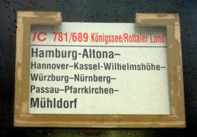 19980796-k85 Zuglaufschild IC 781-689