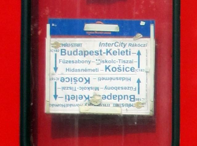 Zuglaufschild Budapest - Kosice