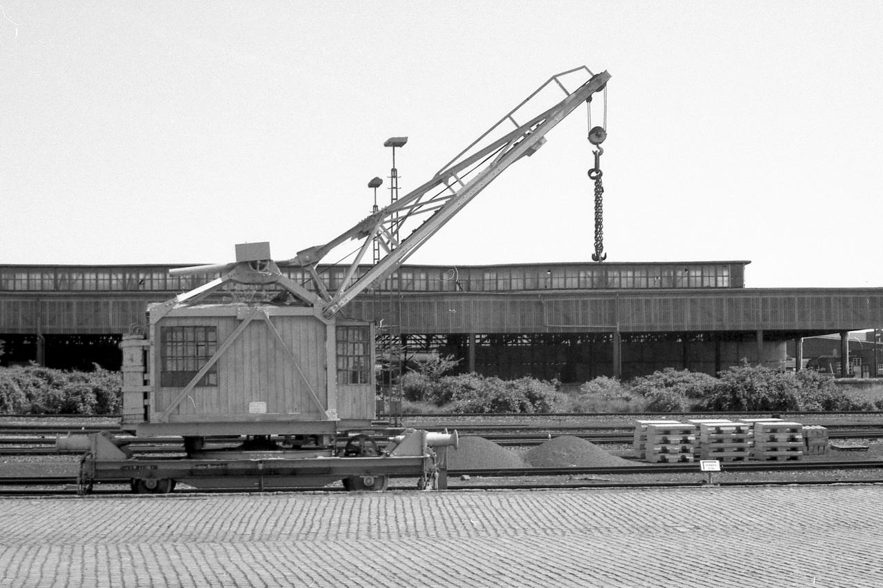 Aufden Gütergleisen erfreut ein ganz besonderes Fahrzeug. Leider habe ich keine Notizen von den Anschriften an jenem Schienenkran gemacht, der mir auch damals schon wie ein Kuriosum vorkam.