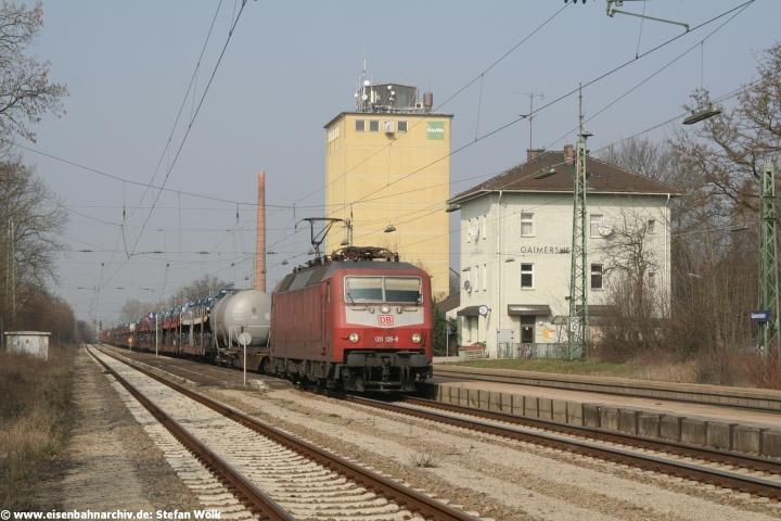 120 126 mit Güterzug FIR 51813 im Bahnhof Gaimersheim, der Endpunkt des von Ingolstadt ausgehenden Regionalverkehrs werden soll.